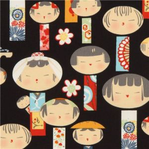 black-Alexander-Henry-fabric-with-Japanese-Kokeshi-dolls-172445-1